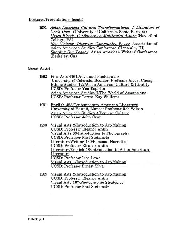 Kip Fulbeck's Resume, pg 4